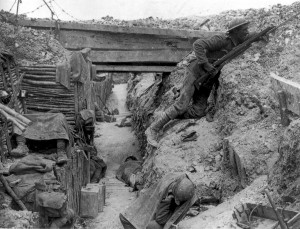 Cheshire Regiment of the British Army in the trenches of the Battle of the Somme, July, 1916, one of the bloodiest battles of WW I