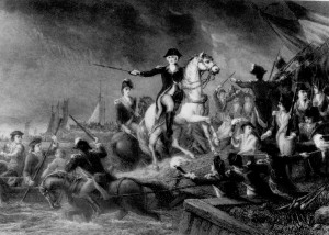 Retreat from Long Island: Washington leads the Continental Army in a retreat across the East River into Manhattan, August 27, 1776 -  engraving by James Charles Armytage from painting by Michael Angelo Wageman, 1897.