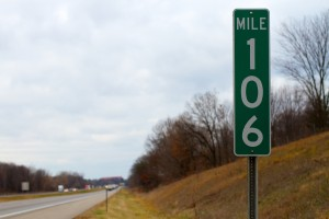 Michigan 106 Mile marker