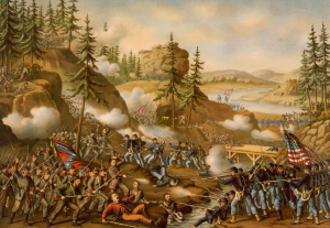 Battle of Chattanooga--Gen. Thomas' charge near Orchard Knob, Nov. 24, 1863, Kurz & Allison, 1888.