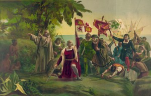 First landing of Columbus on the shores of the New World, at San Salvador, W.I., Oct. 12th 1492, 1862 : Dióscoro Teófilo Puebla Tolín.