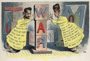 Joseph Pulitzer and William Randolph Hearst, full-length, dressed as the Yellow Kid, a satire of their role in drumming up USA public opinion to go to war with Spain. Source – Wikipedia.