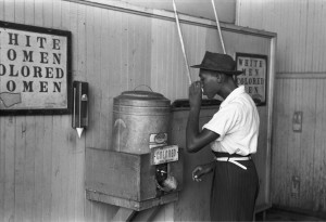 "Separate drinking fountains for ""whites"" and ""coloreds"" in Oklahoma City, Oklahoma, 1939"
