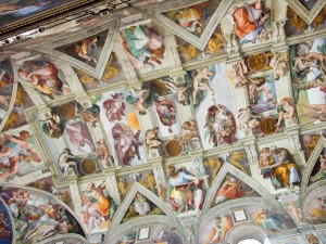 Faded colors on the Sistine Chapel.