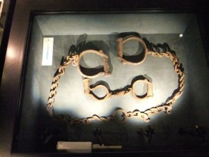 18th century shackles used in the slave trade in Ghana, West Africa