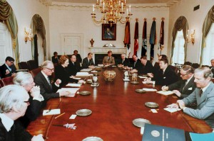 President Reagan and Margaret Thatcher discuss politics with their cabinets at the White House in 1981