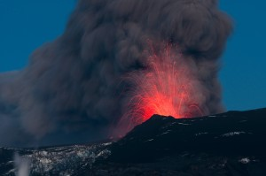 A volcanic eruption in Iceland in 2010