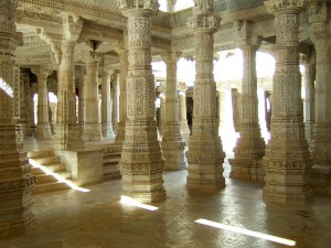 Marble  pillars at the Ranakpur Jain Temple in Rajasthan, India