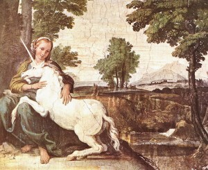 """The Gentle and Pensive Maiden has the Power to Tame the Unicorn"" Domenico Zampieri, 1602"