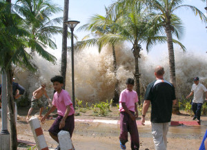 A wave crashes ashore in the 2004 tsunami in Thailand