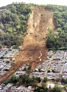 A landslide near San Salvador, El Salvador on January 13, 2001