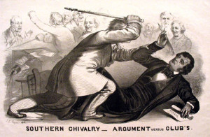 A true political beating: On May 22, 1856, Preston Brooks, a pro-slavery Democratic Representative from South Carolina beat abolitionist Massachusetts Senator Charles Sumner with his cane on the floor of the Senate.  Brooks was fined $300; Sumner took 3 years to recover from traumatic head injuries and was in chronic pain the rest of his life.  Many South Carolina lawmakers sent Brooks replacement canes...