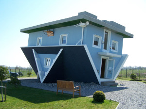 An upside down house built as a tourist attraction in Trassenheide, Germany.