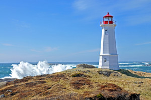 The Louisbourg Lighthouse in Nova Scotia, Canada