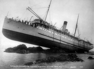 The SS Princess May run up on the rocks near Skagway, Alaska in 1910