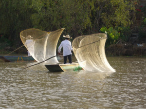 Traditional net fishing in Patzcuaro, Mexico