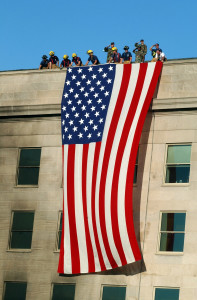 The 3rd Infantry Division unfurling a flag over the Pentagon two days after the 9/11 attacks.