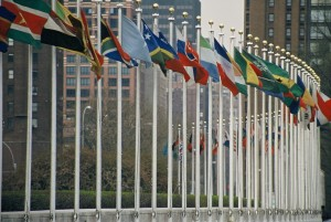 Flags of the members of the United Nations at the UN building in New York City