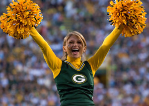 A cheerleader for the Green Bay Packers