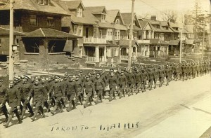 World War I soldiers marching in Toronto, May 1918