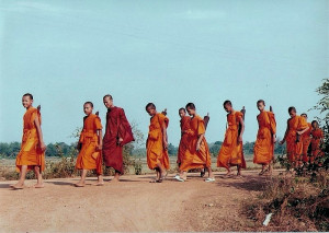 Buddhist monks on a pilgrimage in Thailand