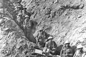New Zealand soldiers in a trench in France in World War I