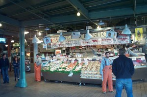 The famous fishmongers at Seattle's Pike Place Market