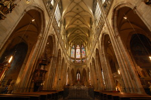 Inside St. Vitus Cathedral in Prague, Czech Republic