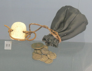 Model of an ancient Roman coin purse